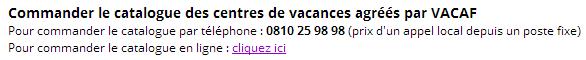 Commandez le catalogue des centres de vacances agréés par VACAF
