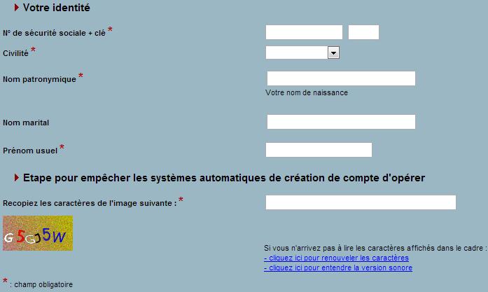 Accédez au formulaire de demande d'un nouveau code d'accès sur IRCANTEC